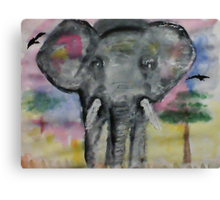 Elephant checking you out, watercolor Canvas Print