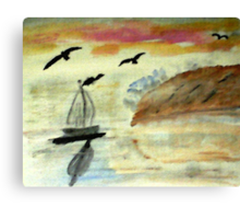 Early morning sail, watercolor Canvas Print