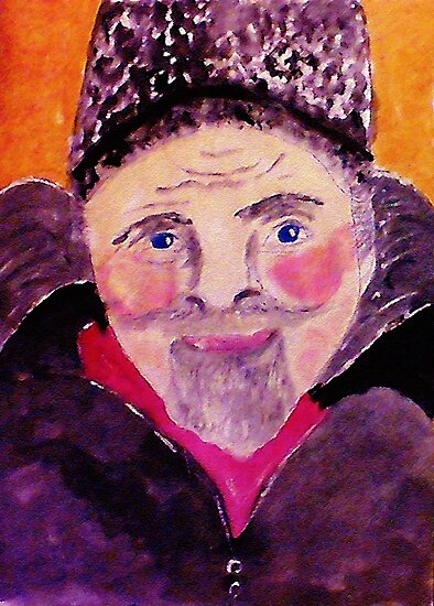 Old man with fur cap, watercolor by Anna  Lewis