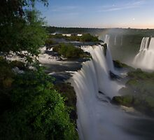 Iguassu Falls at night by Mark Prior