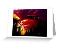 Flaming Chevy Pickup and a Sundowner Picnic Greeting Card