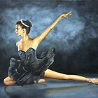 "Fine art ballerina painting ""Black swan"" by barryjdavisart"