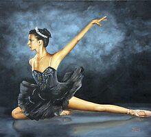 "Fine art ballerina painting ""Black swan"" by barryjdavisart"