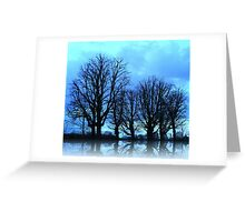 Blue Winter Trees Greeting Card