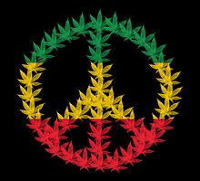 Rastafari Cannabis Peace Symbol by Bela-Manson