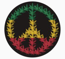 Rastafari Cannabis Peace Symbol Sticker by Bela-Manson