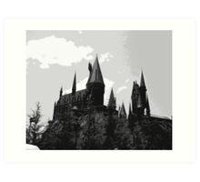 Grey-scale Hogwarts Art Print