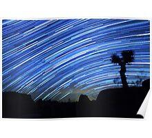 Star Trails Sweep Over Joshua Tree Night Desert Poster
