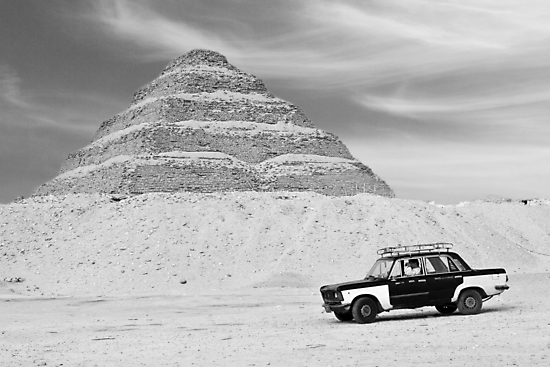 Taxi Pyramid Egypt by Heather Buckley