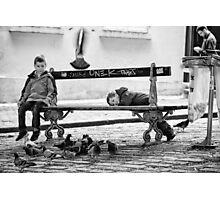 Boys and Pigeons - Paris Photographic Print