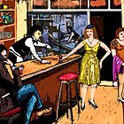 bar,people,phone call,night time,red wine by klaus grumbach
