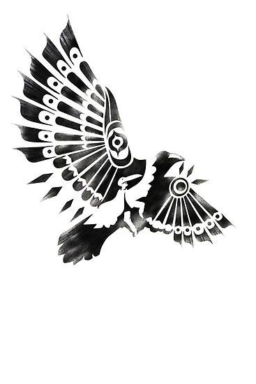 raven crow shaman tribal tattoo design by sfdesignstudio redbubble. Black Bedroom Furniture Sets. Home Design Ideas