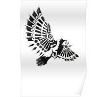 Raven Crow Shaman tribal tattoo design Poster