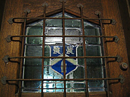 Glass Window on Front Door, Kips Castle by Jane Neill-Hancock