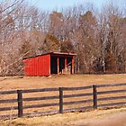 Farm Fence with Shed by Linda Makiej