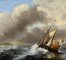 Fishing Vessels Offshore in a Heavy Sea, 1864  by Bridgeman Art Library