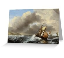 Fishing Vessels Offshore in a Heavy Sea, 1864  Greeting Card