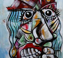 Woman With Blue Hair and Red Bonnet by Reynaldo