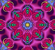 Colourful kaleidoscope fractal design by walstraasart