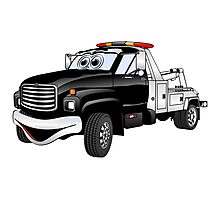Black Silver Tow Truck Cartoon Photographic Print