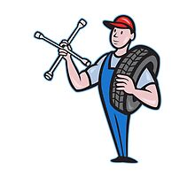 Mechanic With Tire Socket Wrench And Tire by patrimonio