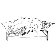 Cat Sleeping on Armchair by RedPine