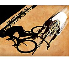 Traveling at the speed of bike retro illustration Photographic Print