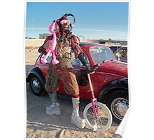 Jester, unicycle & pink flamingo Poster