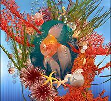 Little Fish Orange Blue by Eva Nev