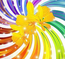 Rainbow Glitter Spiral by BluedarkArt