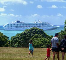 Sea Princess in the Bay of Islands, New Zealand.......! by Roy  Massicks