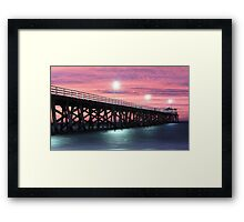 Grange Jetty: A fire in the sky Framed Print