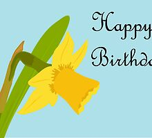 Happy Birthday / Single Daffodil by AllJDesigns