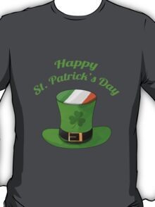 Happy St. Patrick's Day with Leprechaun Hat of Ireland Flag & Shamrock Clovers. T-Shirt