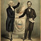 Currier &amp; Ives portrait of Washington and Lincoln by Adam Asar
