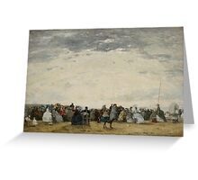 Vacationers on the Beach at Trouville, 1864  Greeting Card