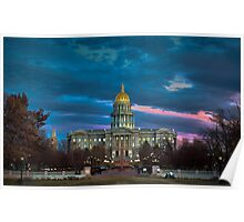 Colorado State Capitol Building at Sunset Poster