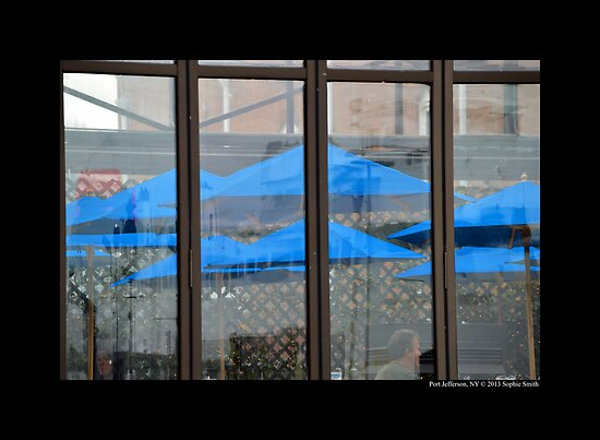 'The Steam Room' Blue Umbrellas On East Broadway - Port Jefferson, New York by © Sophie W. Smith
