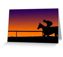Horse Racing Sunset Greeting Card