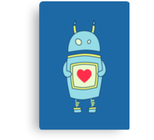 Blue Cute Clumsy Robot With Heart Canvas Print