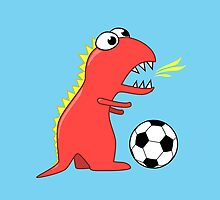 Funny Cartoon Dinosaur Soccer by Boriana Giormova