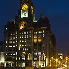 Liver Building at Night by ajwimages
