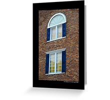 Red Brick Building With Blue Exterior Shutters Windows - Port Jefferson, New York  Greeting Card