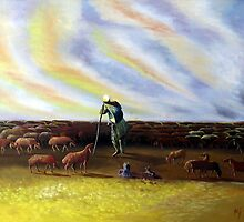 NOmad with lamb and the flock of sheeps  by artpk2009