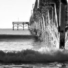 Crashing Waves At Pier B&W by Dawne Dunton