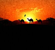 Desert Sunset - Silhouette Camels by Liam Liberty