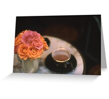 Rose Bouquet in Vase with Cup & Saucer on Table Greeting Card