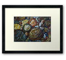 River Stones Oil Painting Framed Print