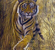 "Fine art painting ""Stalking Tiger"" by barryjdavisart"