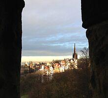 Edinburgh Castle viewpoint. Ramsay Gardens.  by LBMcNicoll